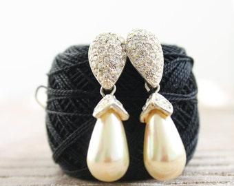 Vintage Faux Pearl and Rhinestone Teardrop Post Earrings
