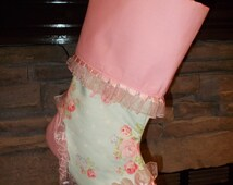 Teal with Pink Roses Lace Hand Made Stocking Christmas Decor Victorian Romance