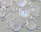 Handmade White Moonstone Sterling silver Bezel Rim Pendant Charm Connector, 13x9mm -8mm stone - 2 pcs - sale