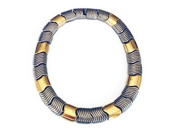 Givenchy Necklace, Gold Silver, Two Tone Metal, Modernist, Wide, Statement Jewelry, Vintage Jewelry, Runway Couture, Designer Fashion