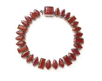 Red Art Deco Bracelet - Czech Glass, Carnelian Glass, Silver Metal, Art Deco Jewelry, Antique Jewelry, Christmas Jewelry