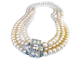 Pearl Rhinestone Necklace Pearly Polished Glass Retro 1950s Pin Up Girl Jewelry