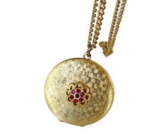 Vintage Locket, Gold Filled, Red Rhinestone, Brushed Gold, Vintage Necklace