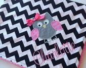 Personalized Baby Blanket- Minky Baby Blanket- Chevron Minky Blanket- Owl Applique Baby Blanket- Custom Blanket