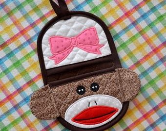 Girl Sock Monkey Doll Finger Tip Oven Mitt, Oven Mitt, Pot Holder, Hot Pad, Hostess Gift, Teacher Gift