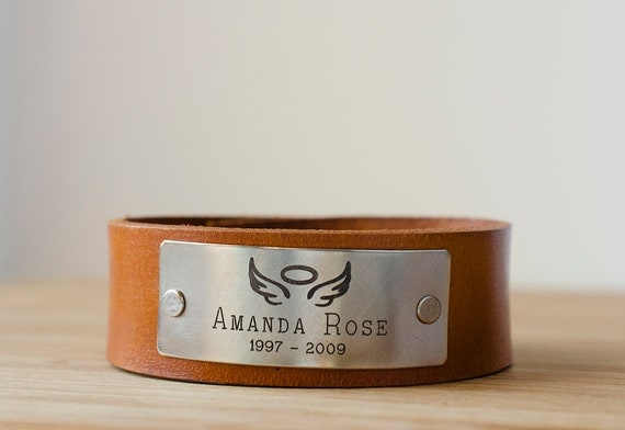 Memorial Angel Wings with Halo Leather Cuff with Custom Name and Dates