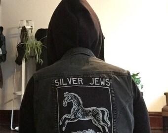 Silver Jews Punk Black Denim Vest