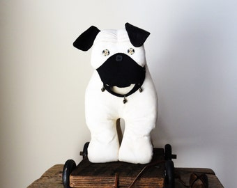 Dog Pull Toy - Pug Puppy - Folk Art Dog - Kids' Room/Baby Nursery Decor - Dog Lovers Gift - Toy Reproduction - Whimsical Home Decor - JED