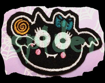 Candy Bat Lollipop Bat Halloween Patch Spooky Cutie Patches Embroidery Embroidered Iron on Patch