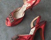 5M Shoes / Vintage 1950's Heels /  Metallic Red Slingback Shoes / Heels / Peep Toe Pumps