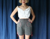 60's Leather Shorts / HEART POCKETS Festival Skirt / Suede Leather Mod Shorts / Haute Hippie Mini Skirt / Sixties Novelty Rare Piece