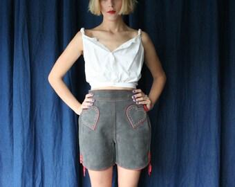 SALE 60's Leather Shorts / HEART POCKETS Festival Skirt / Suede Leather Mod Shorts / Haute Hippie Mini Skirt / Sixties Novelty Rare Piece