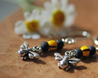 Silver Bumble Bee Earrings- Yellow, Black, Garden Jewelry, Summer, Bees, Gifts Under 20