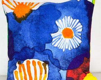 "18""x18"" Marimekko Pillow Cover. Handmade. Pattern,Juhannustaika by Aino-Maija Metsola.(45x45cm)"
