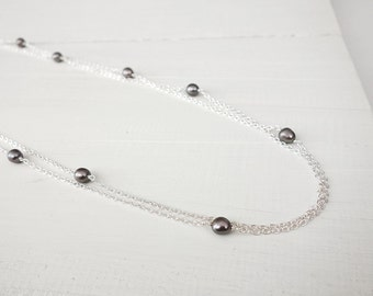 Double chain necklace grey freshwater pearls long chain necklace minimalist womens jewelry