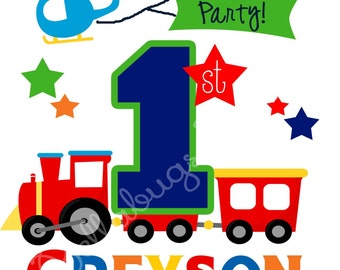 Train Birthday IRON ON TRANSFER- Personalized Name - Plane Transportation Boy Birthday - Tshirts - Second Birthday
