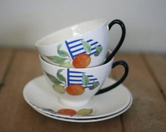 vintage gien la ronde des fruits cups and saucers made in france set of two