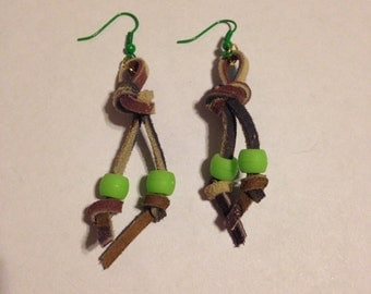 Camouflage Leather Green Bead Earrings Leather Earrings