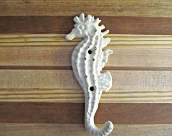 Cast Iron Seahorse Wall Hook - Beach Nautical Coastal Home Decor