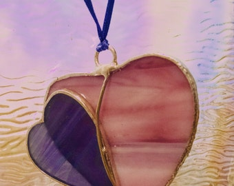 Stained Glass  Hearts Together Hearts Forever Joined Suncatcher Wedding Friend