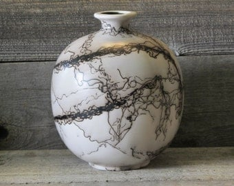"Lonetree 8"" Horse Hair Pottery Vase - Made in Wyoming"