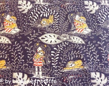 "Lillestoff Organic Cotton Stretchjersey Fabric ""Girl with Sloth"", Dark Blue by Susalabim"