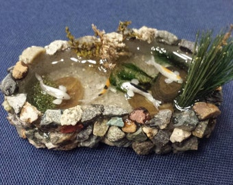 Miniature Koi Pond - natural rock dollhouse water feature