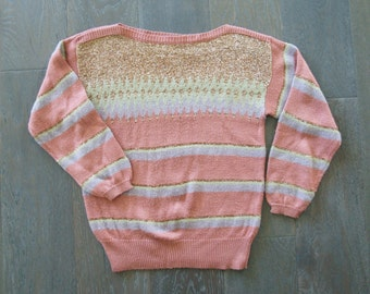Vintage PINK GOLD Lurex Acrylic BOATNECK Pullover Sweater (s-m)