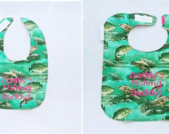 Daddy's Fishing Buddy - Small OR Large - Girls Baby Bib - Personalize Yours - FREE Shipping to U.S.