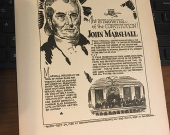 Book page print. John Marshall The Interpreter of the  Constitution. 7 x11 Great for framing for the collector. History.