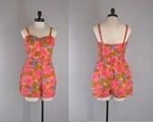 vintage 1960s swimsuit / 1960s one piece / playsuit /romper