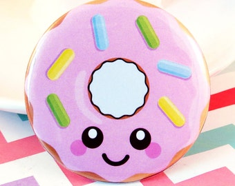 Pink Donut Magnet / Badge, doughnut pin badge, fun home decor, cute fridge magnet, kawaii button badge, donut gift idea, stocking filler