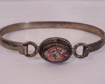 Vintage Mexican Sterling Silver Glass Fire Opal Bracelet