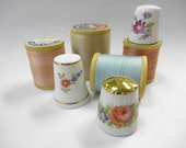 Sew Charming Vintage Sewing Notions (3) Each Pretty Floral Bone China Porcelain Thimbles PLUS Shabby Wooden Thread Spools