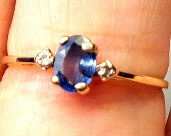 Sz 7.5,Tanzanite, Diamonds, 14k Solid Gold Ring, Oval Cut Center Stone, Great Gift, Estate Ring, Natural Gemstone Jewelry