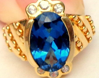 Vintage 10k Yellow Gold, 4.00ct. London Blue Topaz & White Topaz Ring, Natural Gemstones, Something Blue,Promise Ring,Gemstone Jewelry