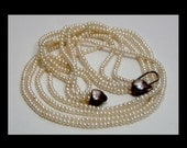 Seed pearl torsade necklace sterling silver hearts clasp ~ 4 ~ multi strand ~ beautiful juicy genuine cultured choker chain ~ Victorian art