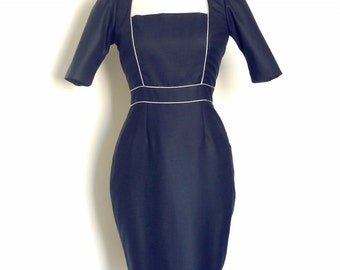 Navy Wool Square Panelled Pencil Dress - Made by Dig For Victory