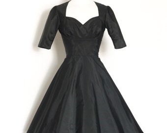 UK Size 10 Black Taffeta Cupid's Bow Evening Dress - Made by Dig For Victory
