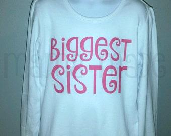 Biggest Sister Shirt or Bodysuit Hot Pink  Biggest Sister Shirt Sibling Shirt Pregnancy announcement Shirt Biggest Sis Shirt Biggest Sister