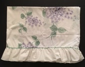 2 Vintage Pillowcases - White with Purple Flowers - Martex