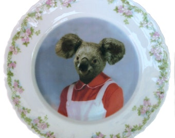 Kara the Koala Portrait - Altered Vintage Plate 8""