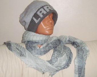 LARRY Personalized Mens Gift Hat Scarf in Gray Custom Name Knit Hat Name personalized Hat with Linen Scarf for mens