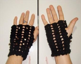 Spiked fingerless gloves, studded gloves, studdes black gloves, Punk Gloves, Punk Rock Gloves Womens Crochet
