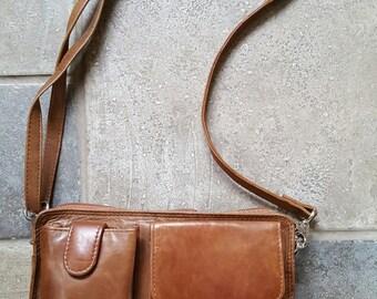 Genuine LEATHER Travel, Organizer Compact Purse  - 1980's looks, Vintage Leather, Unisex
