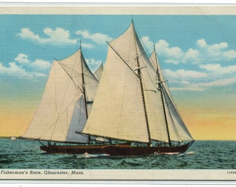 Fisherman's Race Sailing Ship Boat Gloucester Massachusetts linen postcard