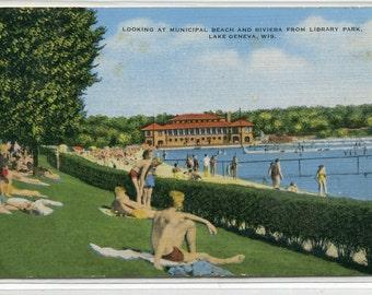 Bathing Beach Riviera Lake Geneva Wisconsin 1948 linen postcard