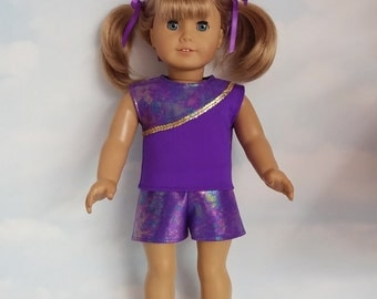 18 inch doll clothes - Purple Shorts and Top handmade to fit the American girl doll