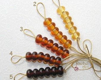 Lampwork Glass Donuts Beads, Amber Glass Round Spacers Beads - Rachelcartglass