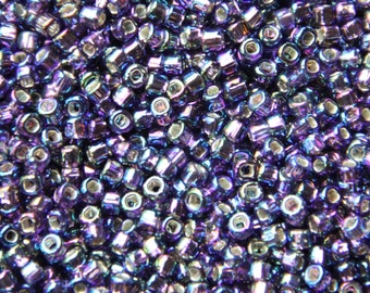Matsuno AB Lavender (with Silver Lined Square Hole) Round 8/0 Seed Bead